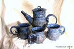 blue quad banded tea set