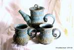 beach blue double banded tea set