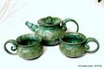 large seafoam double banded tea set