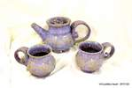 misty purple tea set